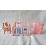 Renwal Dollhouse Furniture - 3 Piece Nursery Set, Playpen, Hamper, Potty... - $12.00