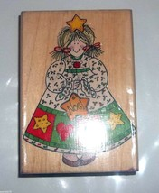Hero Arts Holiday Gal Noel Christmas Star Tree Mounted Rubber Stamp H1106 1996  - $18.69