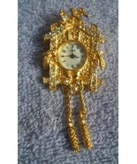 Vintage Rhinestone Cuckoo Clock Brooch or Pendant Watch for Necklace  - $25.00