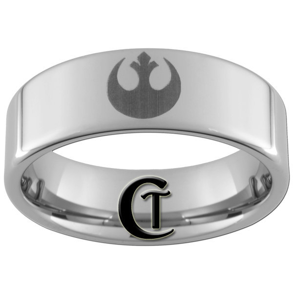 Tungsten Carbide 8mm Pipe Star Wars Rebel Alliance Design Ring Sizes 5-17