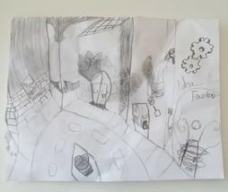 Original Pencil Drawing Illustration Unframed IDEA FACTORY Art King HIRE... - $39.59