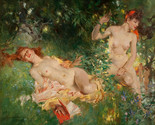 """Nymphs in Summer, a 32"""" high x  reproduction oil painting on canvas by Phuong"""