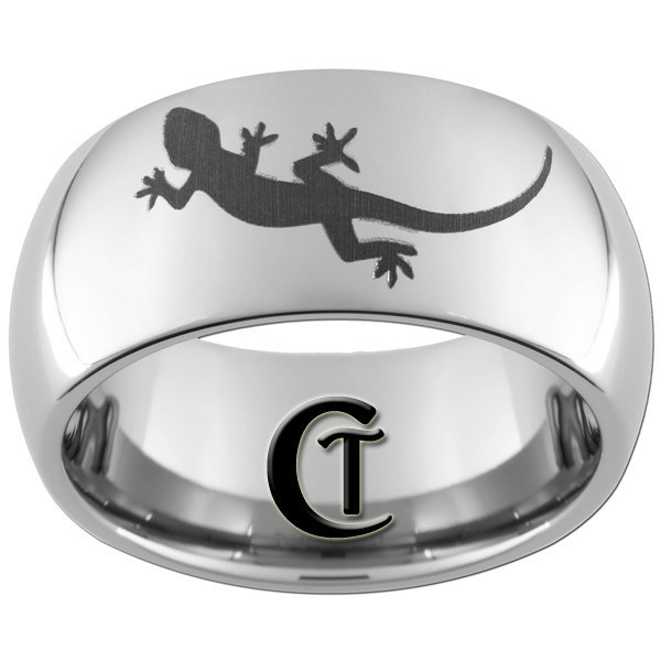 Mens Tungsten Ring 10mm Lizard Design Ring Sizes 4-17