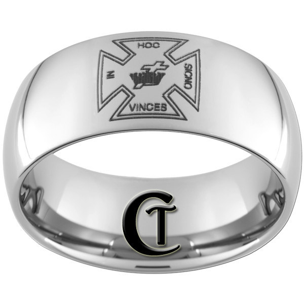 Tungsten Carbide Wedding Ring 10mm Mens Masonic Cross Design Sizes 4-17
