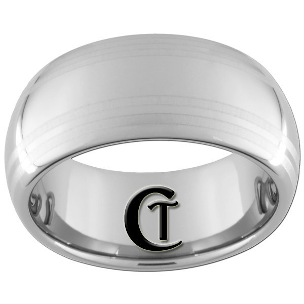 10mm Tungsten Carbide 4-Lasered Lines Design Ring Sizes 4-17