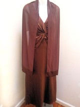Davids Bridal 8 Brown Cognac Gown Shawl Long Formal Prom Bridesmaid Dress - $39.18