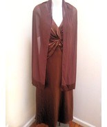 Davids Bridal 8 Brown Cognac Gown Shawl Long Formal Prom Bridesmaid Dress - $39.18