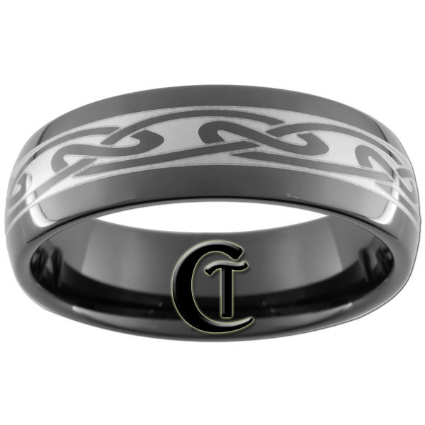 8mm Black Tungsten Carbide Band Dome Celtic Lasered Ring Sizes 5-15