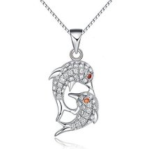 Jewelry Trends Sterling Silver Double Dolphin Mother and Baby CZ Crystal... - $23.04