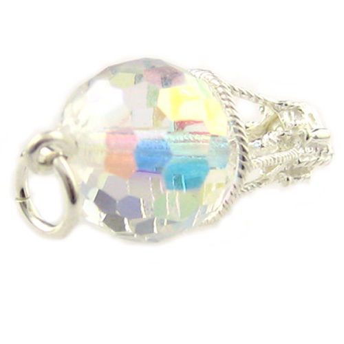 Sterling 925 Silver British Charm by Welded Bliss Balloon Swarovski Crystal