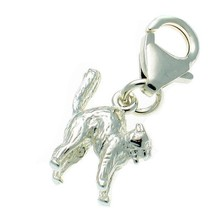 Sterling 925 British Silver Welded Bliss Clip On Charm, Small Cat Arched Back - $15.13