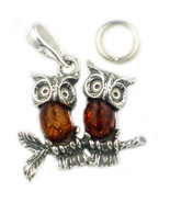 Sterling 925 Silver Twin Amber Owls (Bird Owl Charm) Pendant With Free 1... - $37.81