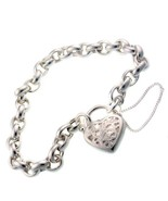 Sterling 925 Silver Belcher Link Charm Bracelet with Filigree Padlock & ... - $83.19