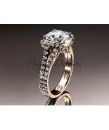 Unique engagement ring, 14kt rose gold diamond unique engagement ring, w... - $1,850.00