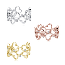 Beautiful 925 Silver White/Yellow/Rose Gold Plated White CZ Round Cut He... - $61.99