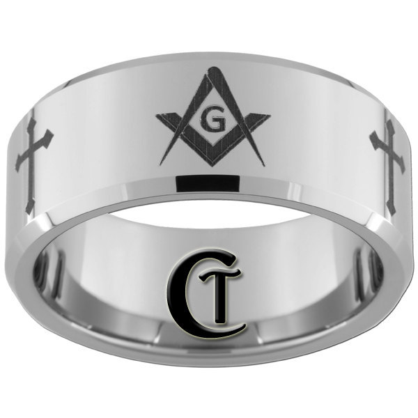 Mens Tungsten Ring 10mm Beveled Religious Cross and Masonic Design Sizes 4-17