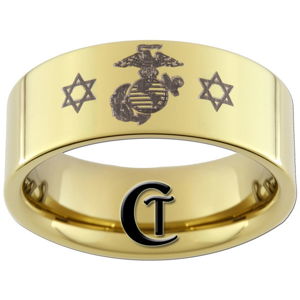 9mm Tungsten Carbide Beveled Marines Jewish Design Ring Sizes 5-15