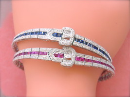 ESTATE ART DECO .90ctw DIAMOND 4.7ctw RUBY or SAPPHIRE BUCKLE BANGLE BRA... - $4,776.75