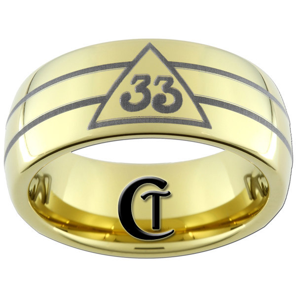 9mm Gold Dome Tungsten Carbide Masonic 33rd Degree Design Ring Sizes 5-15