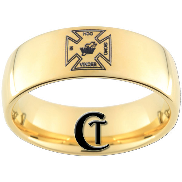 9mm Gold Dome Tungsten Carbide Masonic Cross Design Ring Sizes 5-15