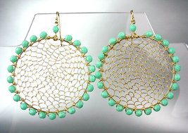 CHIC Turquoise Crystal Beads Gold Honeycomb Wire Chandelier Peruvian Earrings - £12.15 GBP