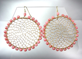 CHIC Pink Tourmaline Crystal Beads Gold Honeycomb Chandelier Peruvian Earrings - £12.15 GBP