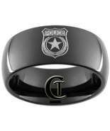 9mm Black Dome Tungsten Carbide Police Badge De... - $49.00