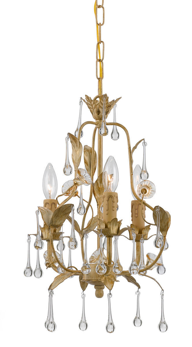 Gold French Flea Market Hollywood Glam Luxe Crystal Drop Chandelier 600