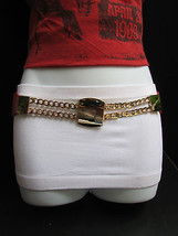 "New Women Elastic Waist Hip Red Fashion Belt Gold Chain Buckle 29"" 35"" S / M - $18.60"