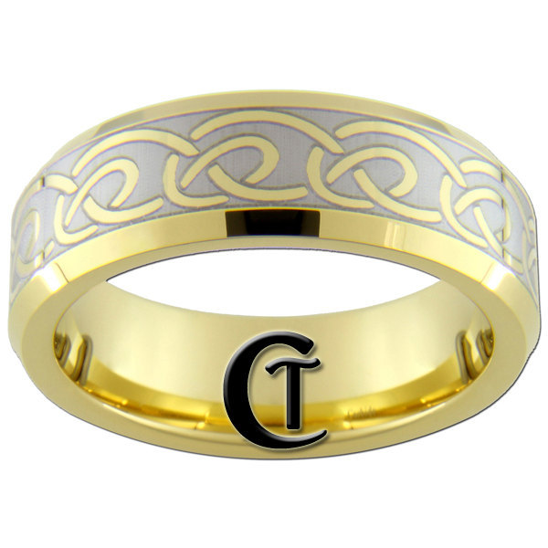 7mm Tungsten Carbide Domed Gold Celtic Knot Lasered Design Ring Sizes 5-15