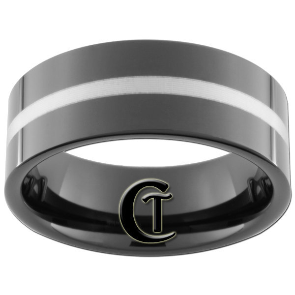 9mm Black Pipe Tungsten Carbide White Lasered Line Ring Sizes 5-15