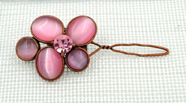 Gorgeous retro copper floral Lt Rose Swarovski ... - $15.99
