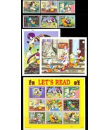 PALAU, DISNEY LET's READ SET OF SIX STAMPS, TWO S/S & SHEETLET OF NINE S... - $13.75