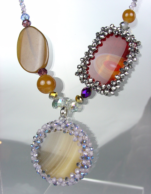 Primary image for GORGEOUS Brown Gray Marble Agate Chalcedony Crystals Necklace Earrings Set