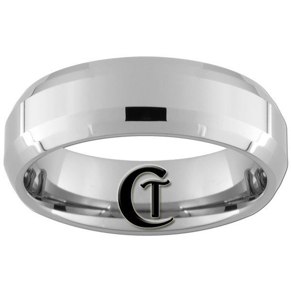 7mm Double Beveled Tungsten Carbide Polished Finish Band Ring Sizes 5-15