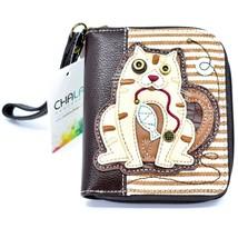 Chala Handbags Faux Leather Gen II Cat Brown Stripe Zip Around Wristlet Wallet