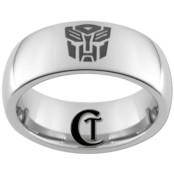 8mm Tungsten Carbide  Domed Transformers Autobot Design Ring Sizes 4-17