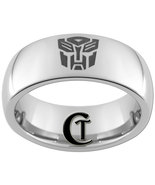 8mm Tungsten Carbide  Domed Transformers Autobot Design Ring Sizes 4-17 - $49.00