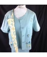 Linen Blue Sheath Dress Jacket Outfit Reversible Floral Tea Studio Ease 10 - $39.11