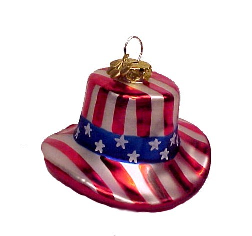 Cherry Designs Blown Glass July 4th Ornament USA Flag Christmas Tree