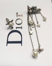 AUTHENTIC Christian Dior STAR CD LOGO CHARM Multi Chain Long Dangle Earrings image 11