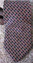 Brooks Brothers Silk Tie Navy Orange Geometric Chain Pattern Black Fleece  - $24.99