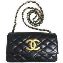80's vintage CHANEL black lambskin shoulder bag with golden large CC clo... - $2,300.00