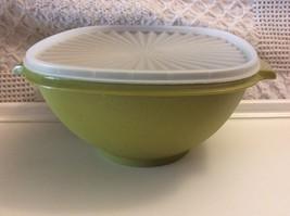 Tupperware Servalier Lg Avocado Green Bowl with White Lid - $19.95