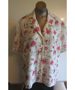 Christie & Jill Womens XLarge Lined Fitted White Pink Roses Short Sleeve... - $11.72