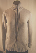 Land's End Womens  Gray Cotton Zippered Long Sleeve Sweater Size S 6-8 - $15.32