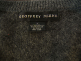 Geoffrey Beene Mens Gray Lambswool V Neck Pullover Long Sleeve Sweater S... - $16.22