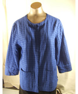 Chico's Blue Cotton  Jacket  size 1 Lined Bracelet Length Sleeves - $15.10