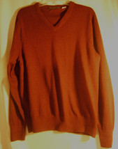 Eddie Bauer Mens Size M  Red V Neck Long Sleeve Cotton Cashmere Blend Sweater - $16.22