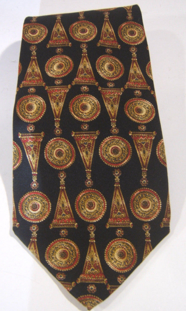 Primary image for Metropolitan Museum of Art Black Red Gold Silk Tie  Made in USA